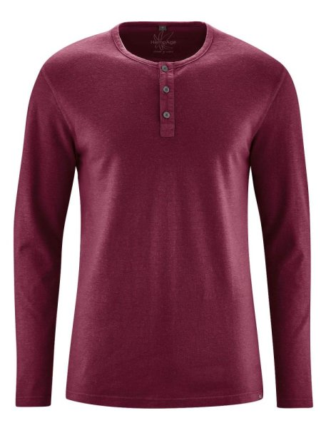 HempAge Herren Langarm Shirt//Henley Shirt einfarbig Hanf//Bio-Baumwolle