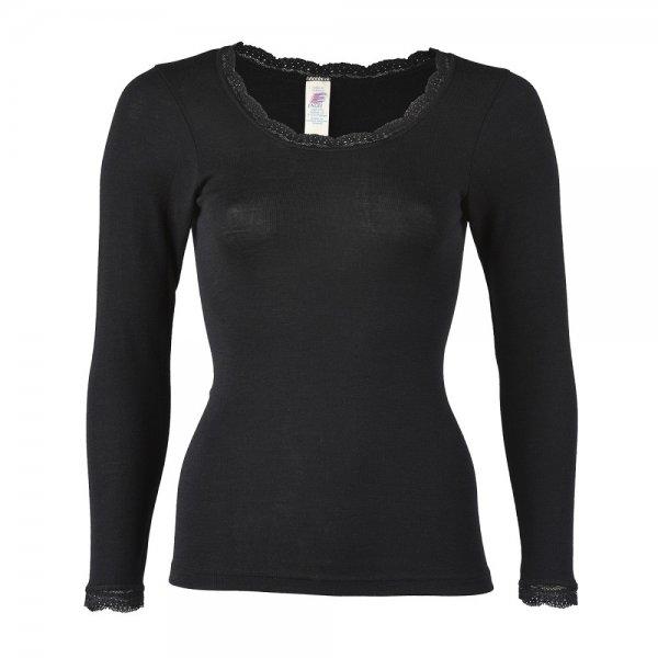 Engel Damen Shirt Kurzarm mit Spitze Bio-Baumwolle